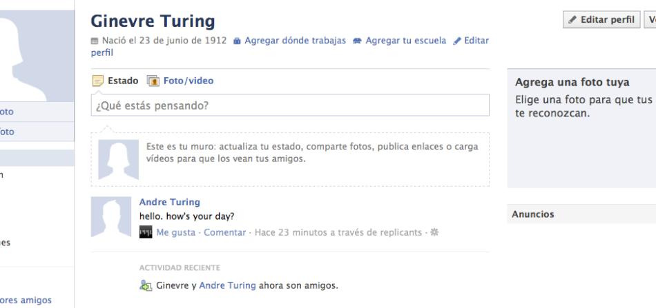 Captura de pantalla del perfil de facebook de André