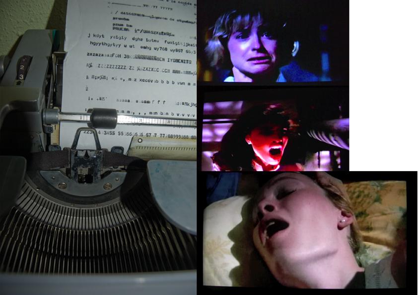 Una maquina de escribir proyecta, al ser tecleada, escenas de gritos de terror.